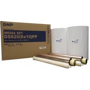 8x10 Media Print Kit for DNP DS820A Printers, DNP Paper & Ink Ribbon 8x10 x130 x 2 sets (260 prints) [DS820 8X10]