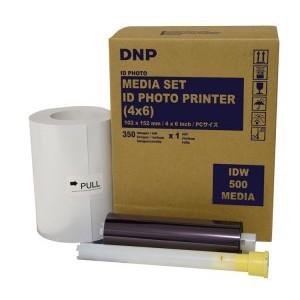 DNP IDW500 4x6 Paper and Ribbon. 1 Kit Per Box, 350 Prints