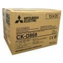 4x6/6x8 Media Print Kits for Mitsubishi D80 Printers, Mitsubishi Paper & Ink Ribbon 4x6 x430 x 2 sets (860 prints) [CK-D868]