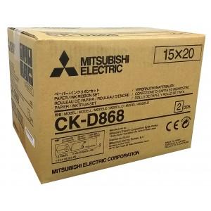 4x6/6x8 Media Print Kits for Mitsubishi D80 Printers, Mitsubishi Paper & Ink Ribbon 4x6 x430 x 2 sets (860 prints) [CK-D868]