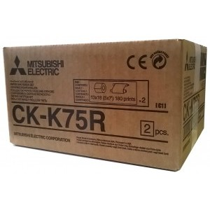 5x7 Media Print Kits for Mitsubishi K60 Printers, Mitsubishi Paper & Ink Ribbon 5x7 x180 x 2 sets ( 360 prints) [CK-K75R]
