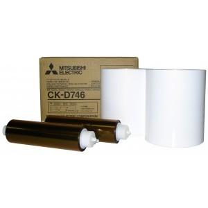 4x6 Media Print Kits for Mitsubishi D70, D707 and D90 Printers, Mitsubishi Paper & Ink Ribbon 4x6 x400 x 2 sets (800 prints) [CK-D746]
