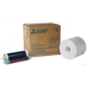 5x7 Media Print Kits for Mitsubishi 9000U, 9500U, 9550U and 9800U Printers, Mitsubishi Roll Paper & Ink Ribbon 5x7 X350 Prints (for U printers only) [CK-955R]