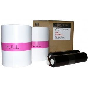 6x8 Media Print Kit for Sinfonia CS2 Printers, Sinfonia Paper & Ink Ribbon for CS2 Printer 6x8 x150 x 2 sets