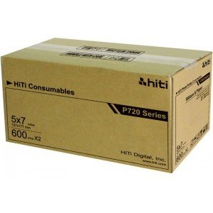 """5x7 Media Print Kit for HiTi 720L Printers, HiTi 5x7"""" Paper & Ribbon 5x7x600 2 sets (1200 Prints) [87.PCF04.10XV]"""