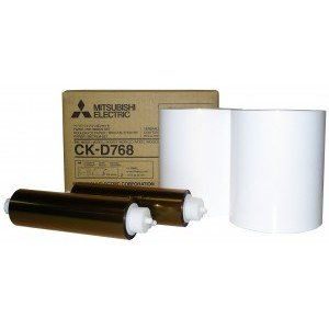 6x8 Media Print Kits for Mitsubishi D70, D707 and D90 Print, Mitsubishi Paper & Ink Robbon 6x8 x200 x 2 sets (400 prints) [CK-D768]