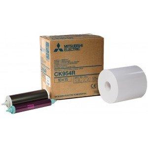 4x6 Media Print Kits for Mitsubishi 9000U, 9500U, 9550U and 9800U Printers, Mitsubishi Roll Paper & Ink Ribbon 4x6 X600 Prints (for U printers only) [CK-954R]