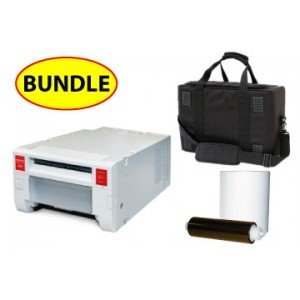 Mitsubishi CP-k60-DW digital color printer CASE & MEDIA BUNDLE: Mitsubishi K60  Printer w/ 3 Years Parts & Labor Warranty + One 4x6 Print Kit + Soft Carry Case